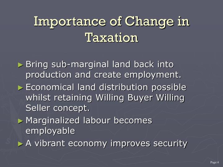 Importance of Change in Taxation