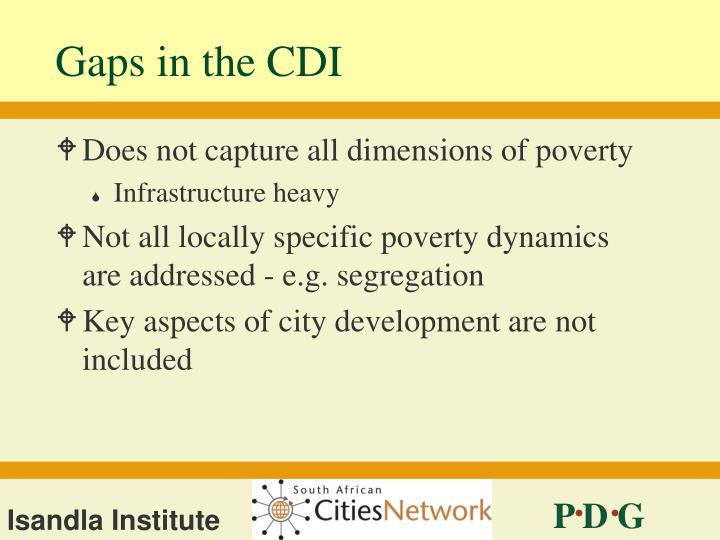 Gaps in the CDI