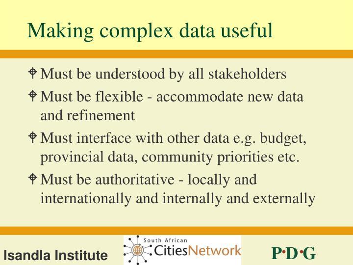 Making complex data useful