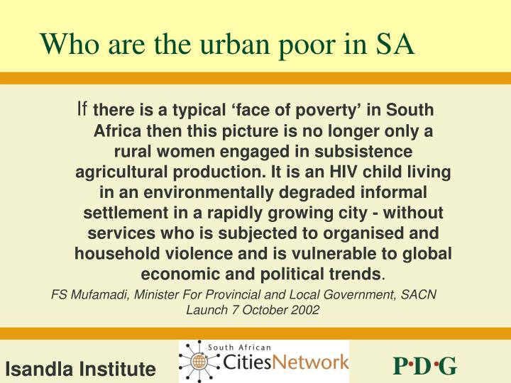 Who are the urban poor in SA
