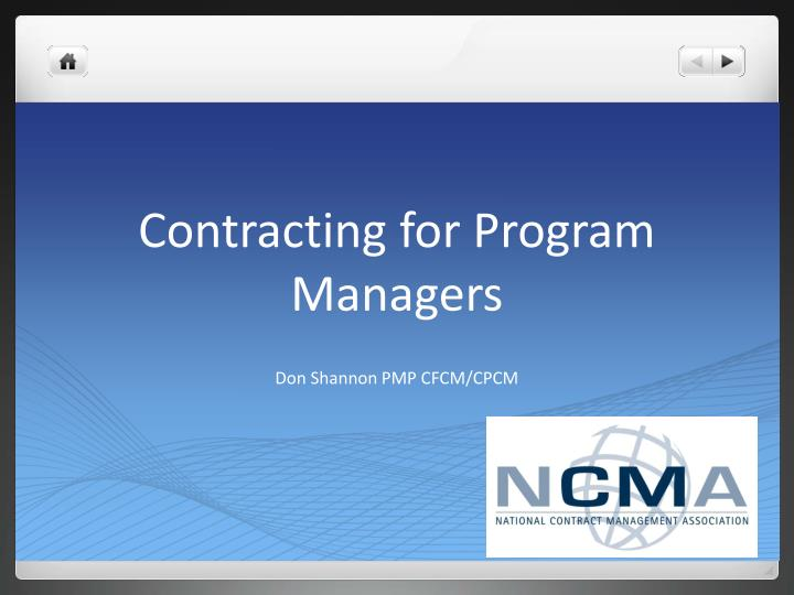 Contracting for program managers