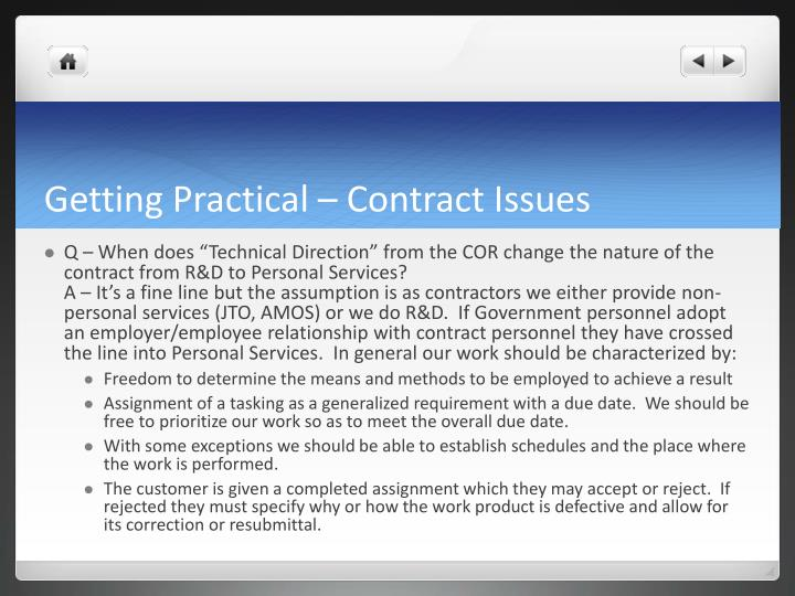 Getting Practical – Contract Issues