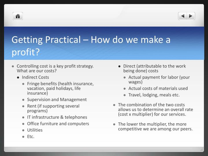Getting Practical – How do we make a profit?