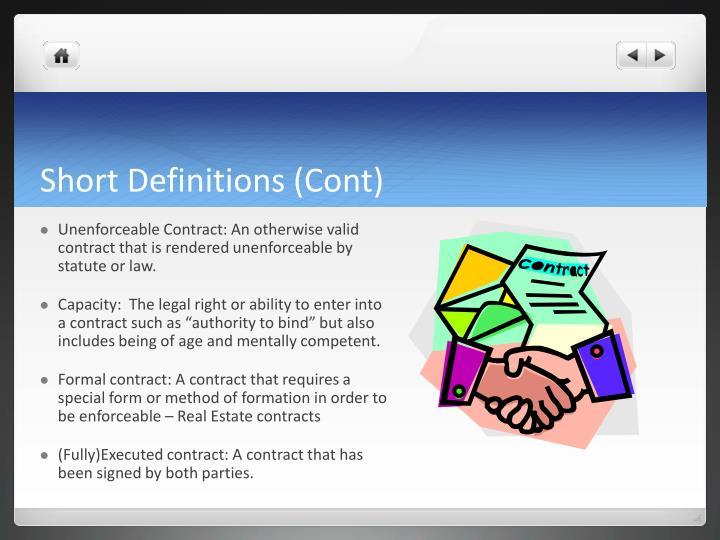 Short Definitions (Cont)