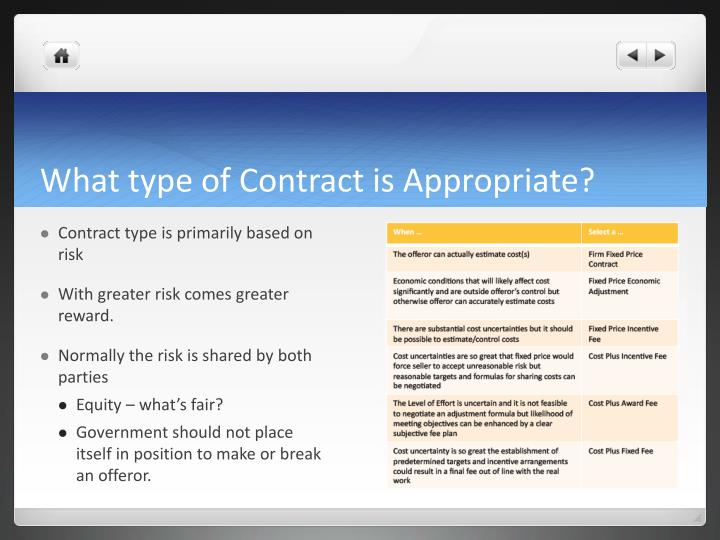 What type of Contract is Appropriate?