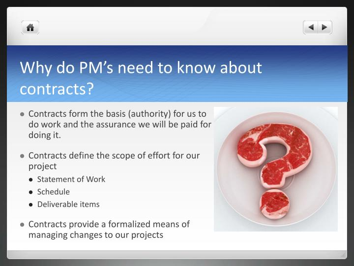 Why do pm s need to know about contracts