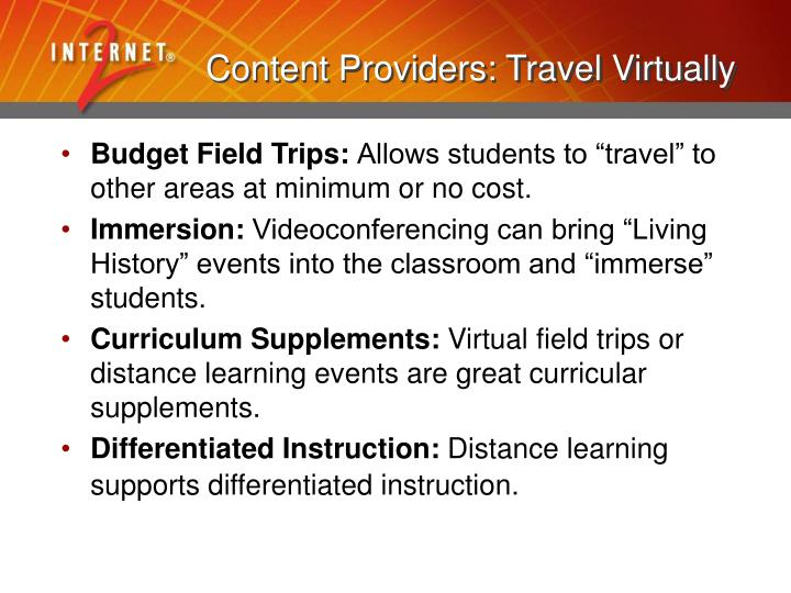 Content Providers: Travel Virtually