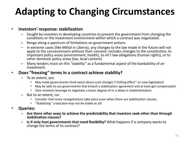 Adapting to Changing Circumstances