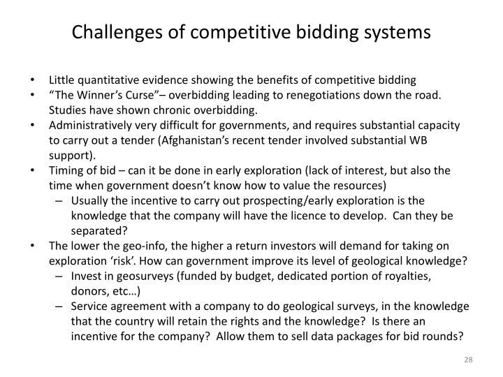 Challenges of competitive bidding systems