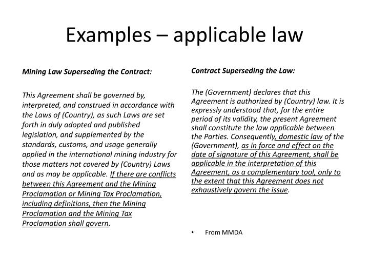 Examples – applicable law