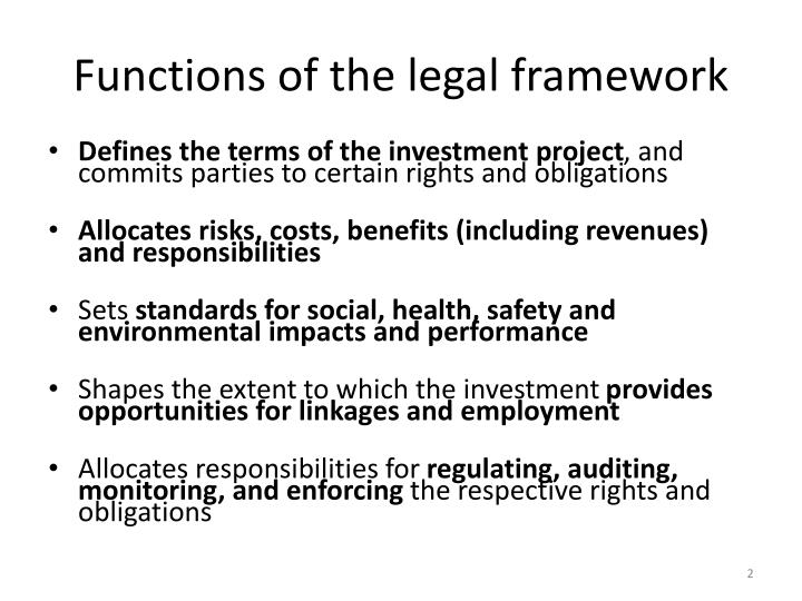 Functions of the legal framework