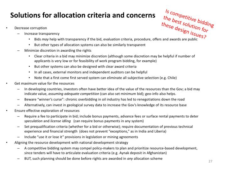 Solutions for allocation criteria and concerns