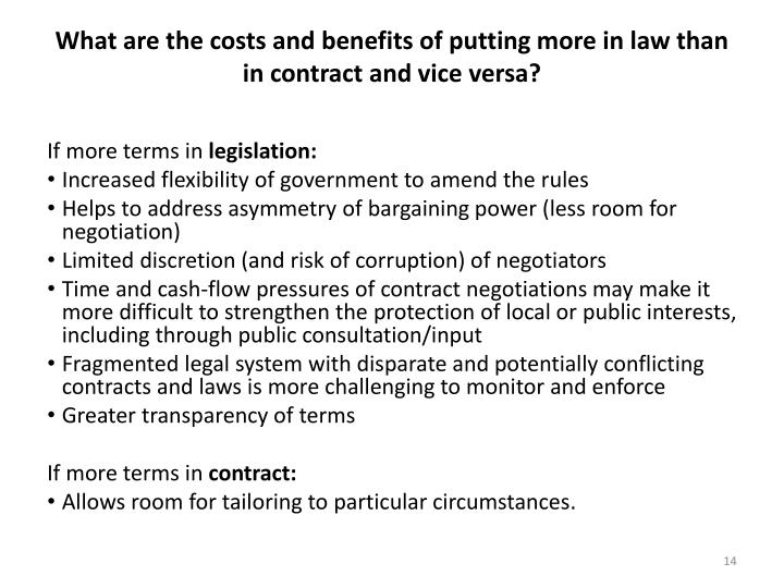 What are the costs and benefits of putting more in law than in contract and vice versa?