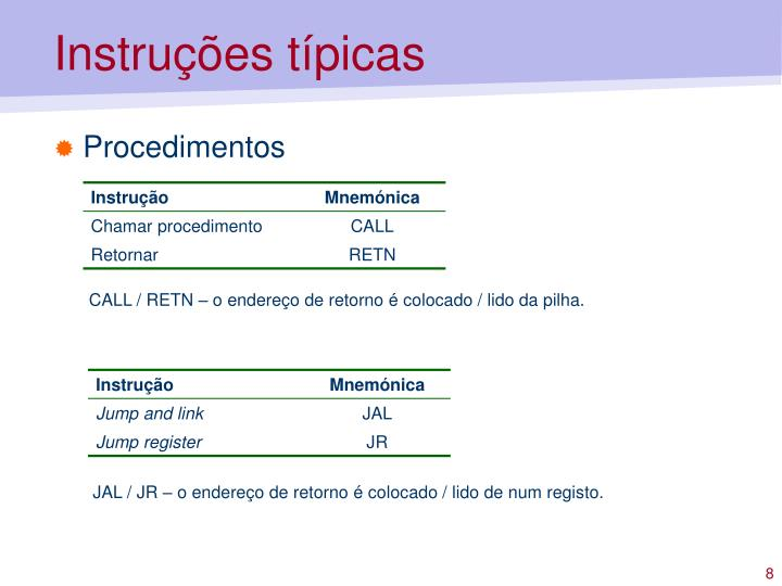 Instruções típicas