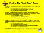 finding the just right book