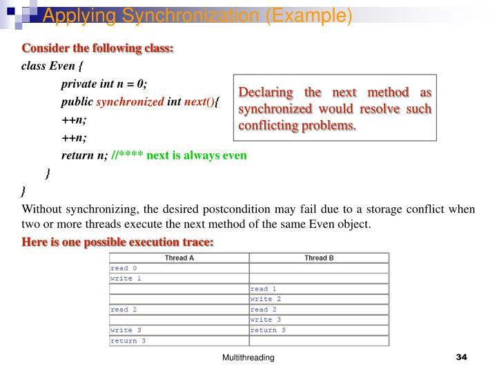 Applying Synchronization (Example)