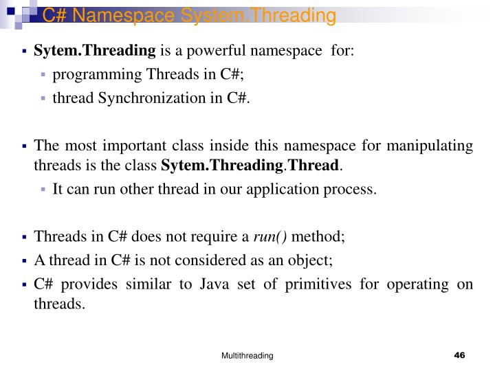C# Namespace System.Threading