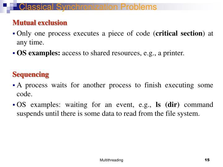 Classical Synchronization Problems