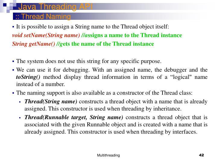 Java Threading API