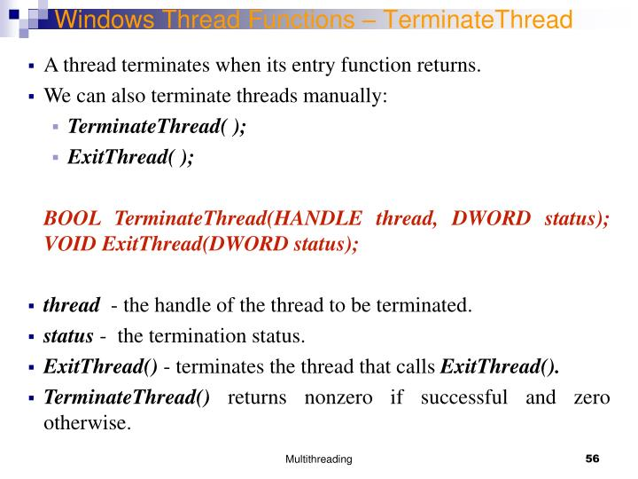 Windows Thread Functions – TerminateThread