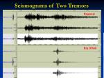 seismograms of two tremors