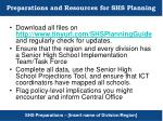 preparations and resources for shs planning