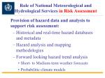 role of national meteorological and hydrological services in risk assessment