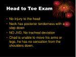 head to toe exam