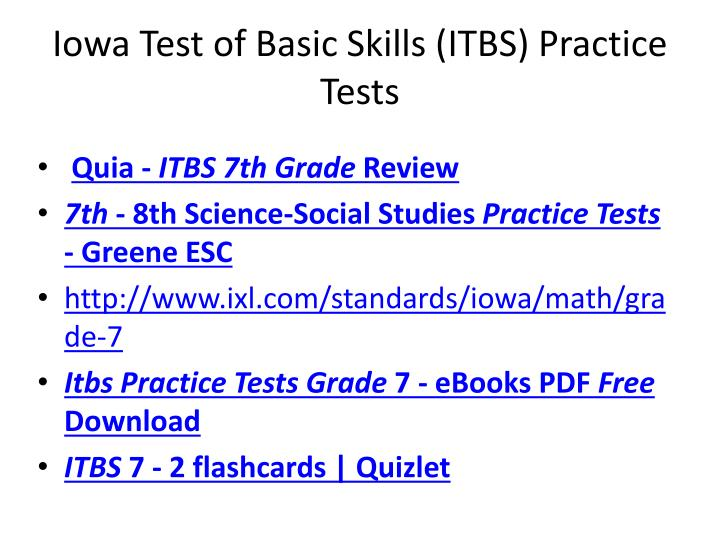 PPT - Iowa Test of Basic Skills ( ITBS ) Practice Tests