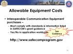 allowable equipment costs1