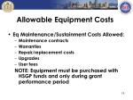 allowable equipment costs3