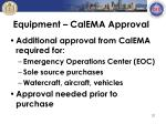 equipment calema approval