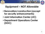 equipment not allowable