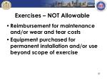 exercises not allowable