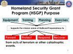 homeland security grant program hsgp purpose