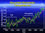 recorded worldwide temperatures