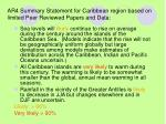 ar4 summary statement for caribbean region based on limited peer reviewed papers and data