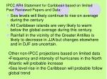 ipcc ar4 statement for caribbean based on limited peer reviewed papers and data