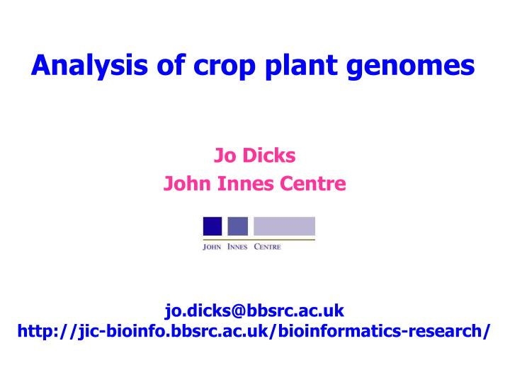 analysis of crop plant genomes n.
