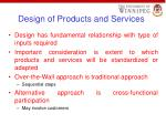 design of products and services