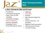 other training activities 2013