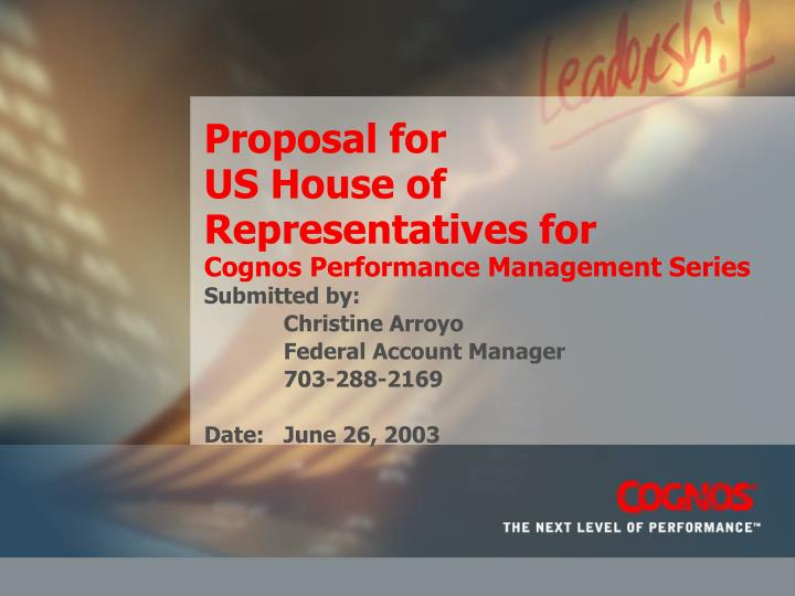 proposal for us house of representatives for cognos performance management series n.