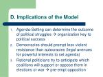 d implications of the model