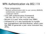 wpa authentication via 802 11x