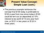 present value concept simple loan cont