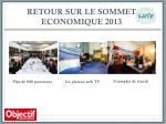 retour sur le sommet economique 2013