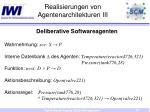 realisierungen von agentenarchitekturen iii
