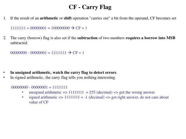 CF - Carry Flag