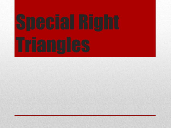 special right triangles n.