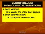 blood volume physiological variations2